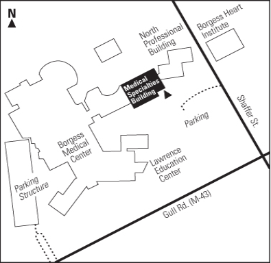 Map to Medical Specialties Building