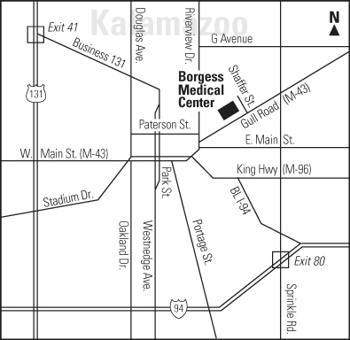 Map to Borgess Medical Center